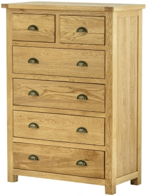 Portland Oak 2 Over 4 Drawer Chest