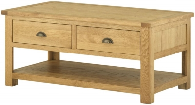 Portland Oak 2 Drawer Coffee Table