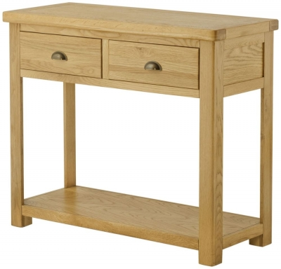 Portland Oak 2 Drawer Console Table