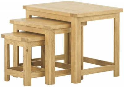 Portland Oak Nest of 3 Tables