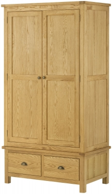 Portland Oak 2 Door 2 Drawer Wardrobe