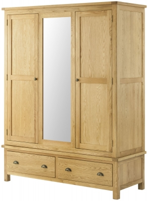 Portland Oak 3 Door Triple Wardrobe