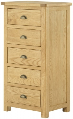 Portland Oak 5 Drawer Wellington Chest