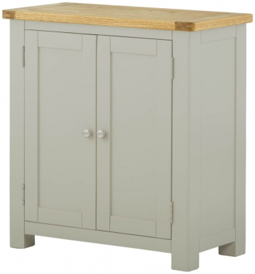 Portland Oak and Stone Painted 2 Door Hall Cabinet