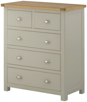 Portland Stone Grey Painted Chest of Drawer -2 Over 3 Drawer