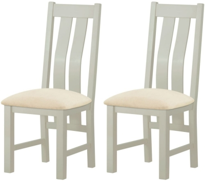 Portland Stone Grey Painted Dining Chair (Pair)