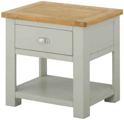 Portland Stone Painted 1 Drawer Lamp Table