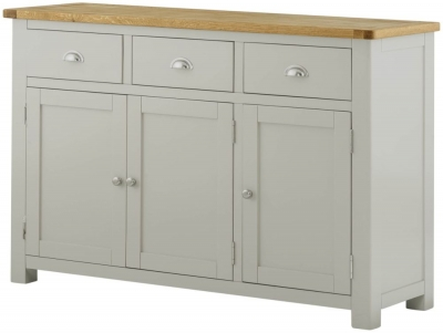 Portland Oak and Stone Painted Grand 3 Door Sideboard