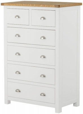 Portland White Painted 2 Over 4 Drawer Chest