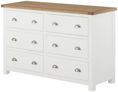 Portland Oak and White Painted 6 Drawer Chest