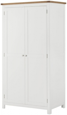 Portland Oak and White Painted 2 Door Wardrobe