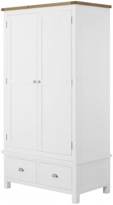 Portland Oak and White Painted 2 Door 2 Drawer Wardrobe