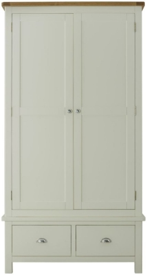 Portland Oak and Stone Painted 2 Door 2 Drawer Wardrobe