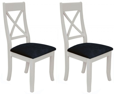 Portland Stone Painted X-Back Dining Chair (Pair)