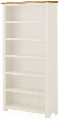 Portland Oak and White Painted Large Bookcase