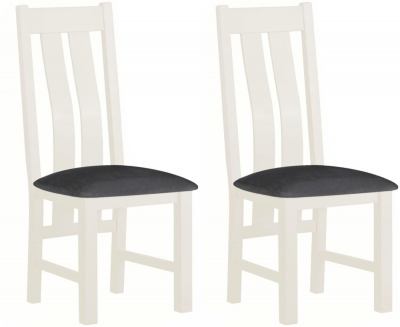 Portland White Painted Slatted Dining Chair (Pair)
