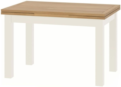 Portland Oak and White Painted Drop Leaf 120cm-200cm Dining Table