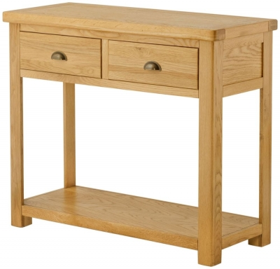 Portland Oak Grand Console Table - 2 Drawer