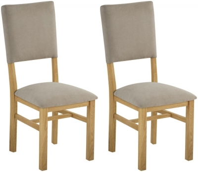 Portland Oak Grand Dining Chair with Fabric Back (Pair)