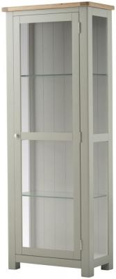 Portland Oak and Stone Painted Glazed Display Cabinet