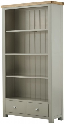 Portland Stone Grand Painted Bookcase - 2 Drawer Wide