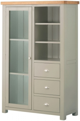 Portland Oak and Stone Painted Grand Combined Bookcase and Display