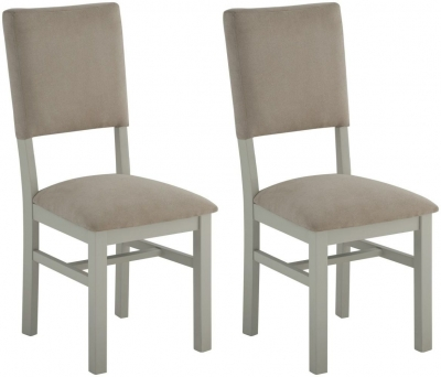 Portland Stone Grand Painted Dining Chair with Fabric Back (Pair)
