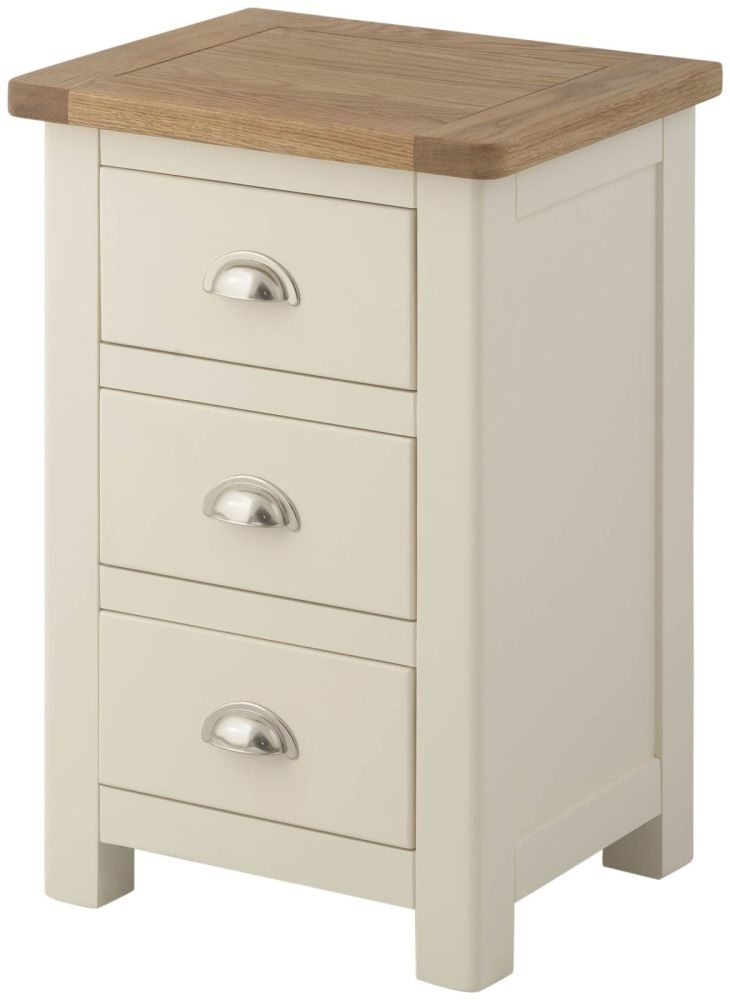 Portland Bedside Cabinet - Oak and Cream Painted
