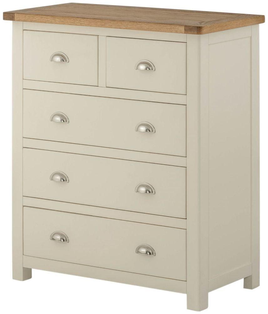 Portland 2+3 Drawer Chest - Oak and Cream Painted
