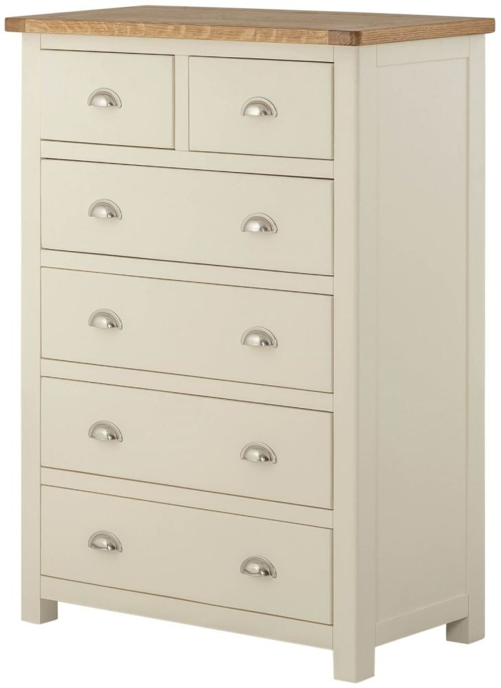 Portland Cream Painted Chest of Drawer - 2 Over 4 Drawer