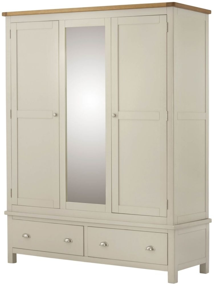 Portland 3 Door Wardrobe - Oak and Cream Painted