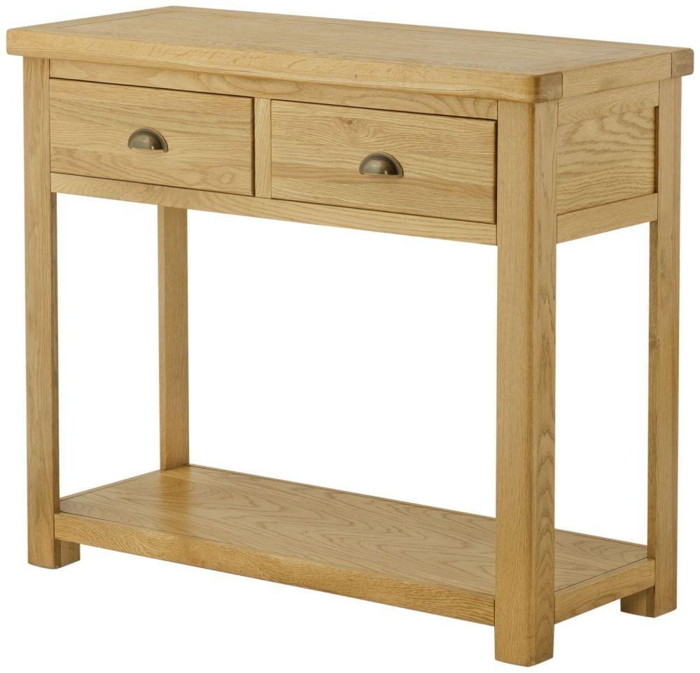 Portland Oak Console Table - 2 Drawer