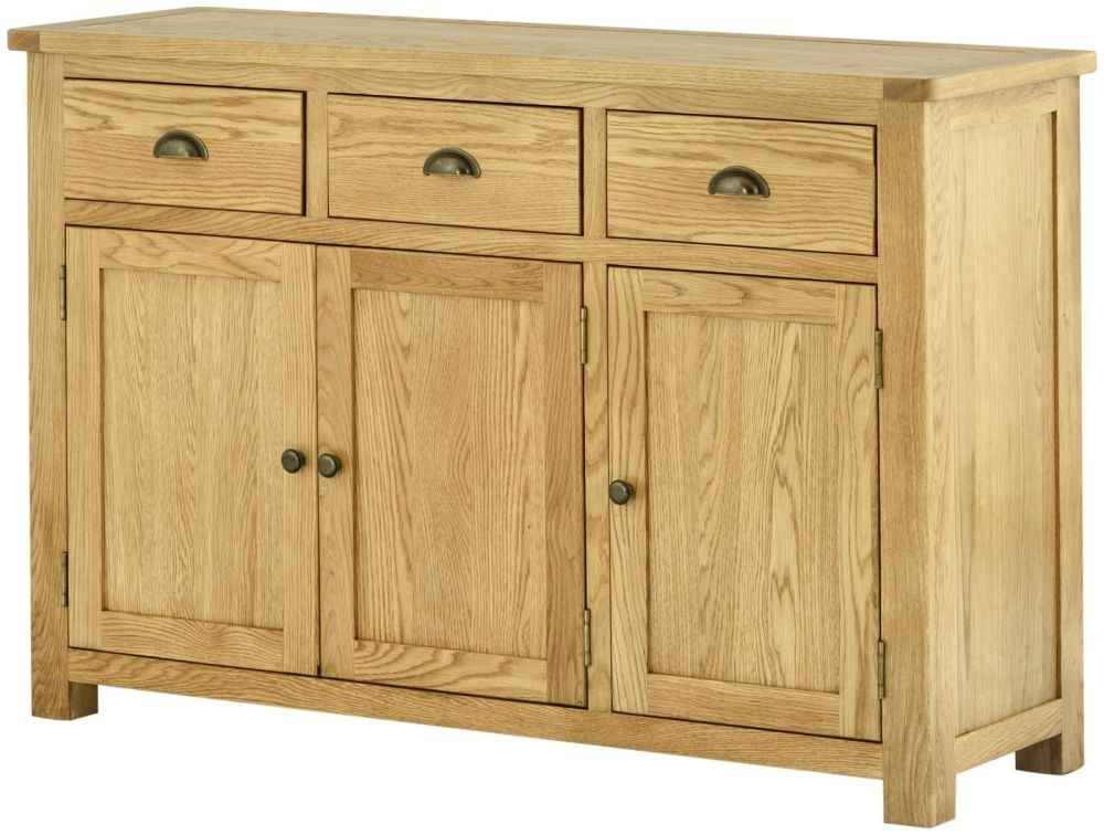 Portland Oak 3 Door 3 Drawer Wide Sideboard