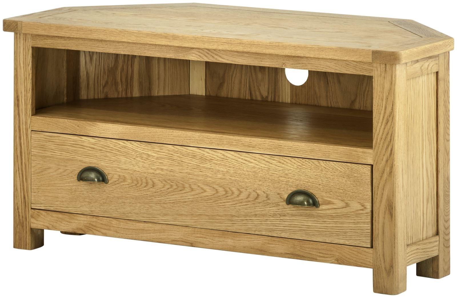 Portland Oak TV Cabinet - 1 Drawer Corner