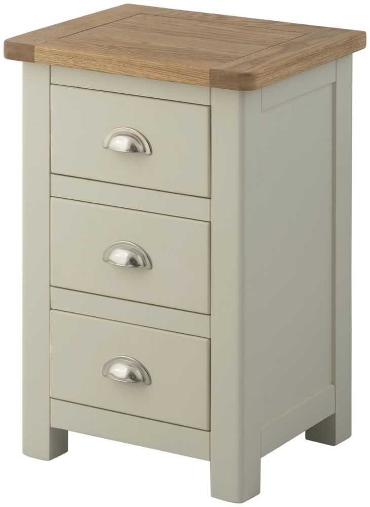 Portland Stone Grey Painted 3 Drawer Bedside Cabinet