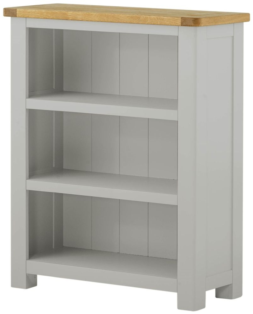 Portland Small Bookcase - Oak and Stone Grey Painted