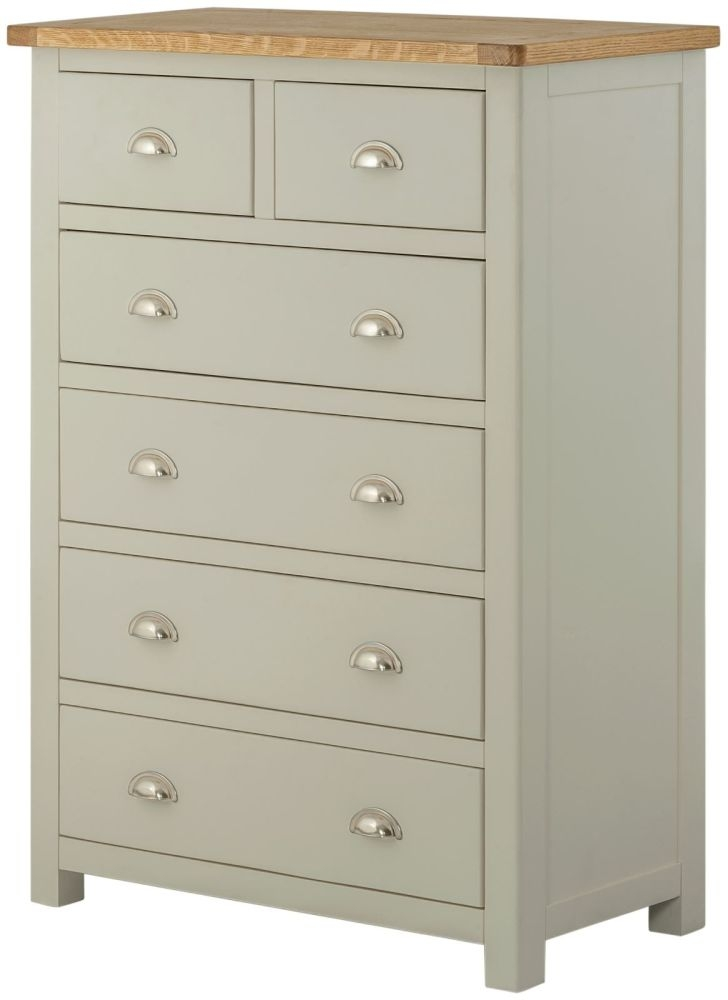 Portland 2+4 Drawer Chest - Oak and Stone Grey Painted