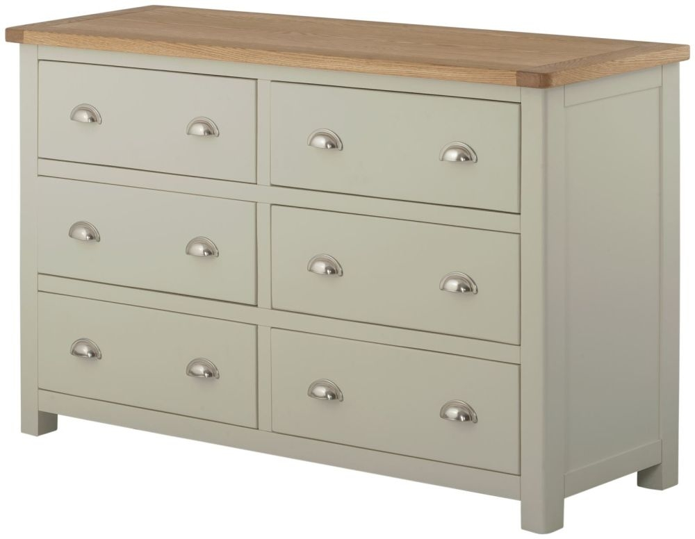 Portland Stone Grey Painted Chest of Drawer - 6 Drawer