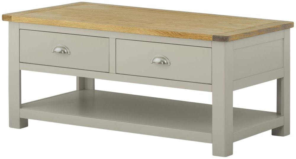 Portland Stone Grey Painted Storage Coffee Table - 2 Drawer