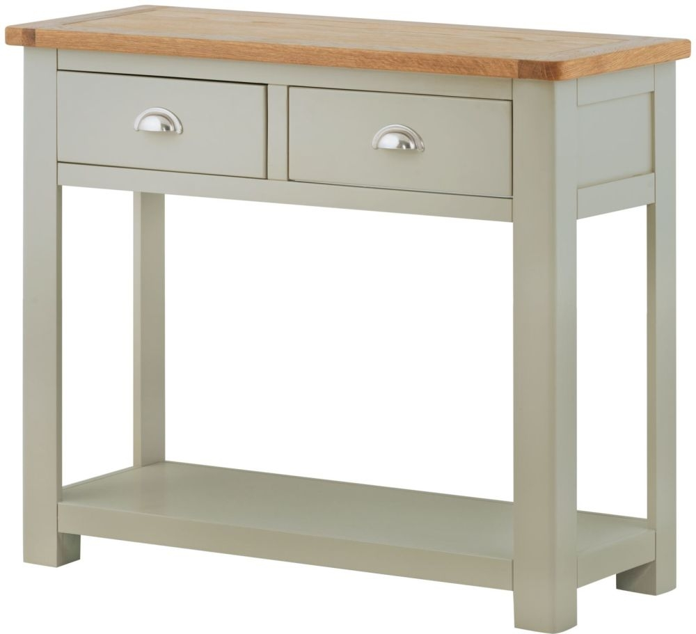 Portland Stone Grey Painted Console Table - 2 Drawers