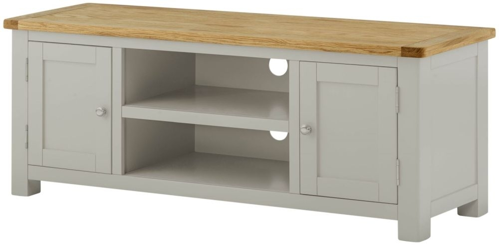 Buy Portland Stone Grey Painted Large TV Cabinet Online - CFS UK