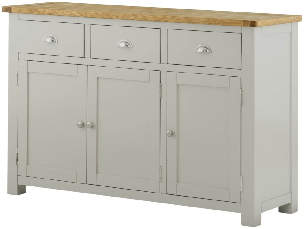 Portland Stone Grey Painted Sideboard - 3 Door 3 Drawer Medium