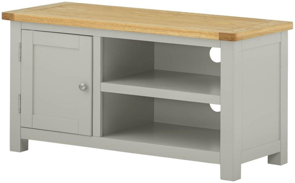 Portland Small TV Cabinet - Oak and Stone Grey Painted