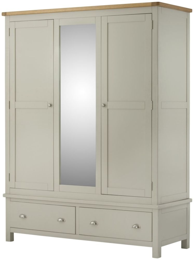Portland Stone Grey Painted 3 Door 2 Drawer Triple Wardrobe