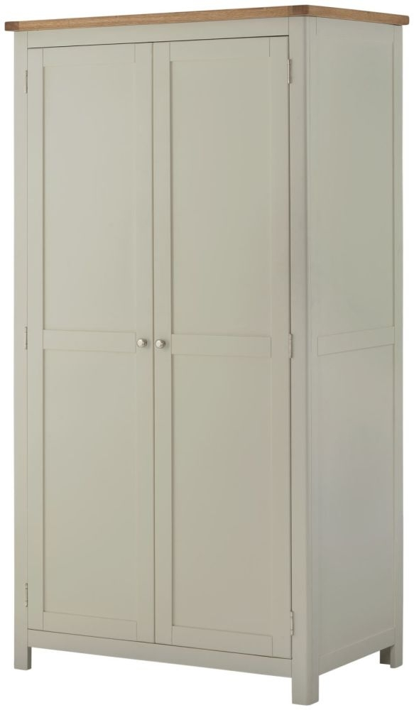 Portland Stone Grey Painted Wardrobe - 2 Door