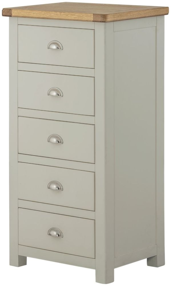 Portland Wellington 5 Drawer Chest - Oak and Stone Grey Painted