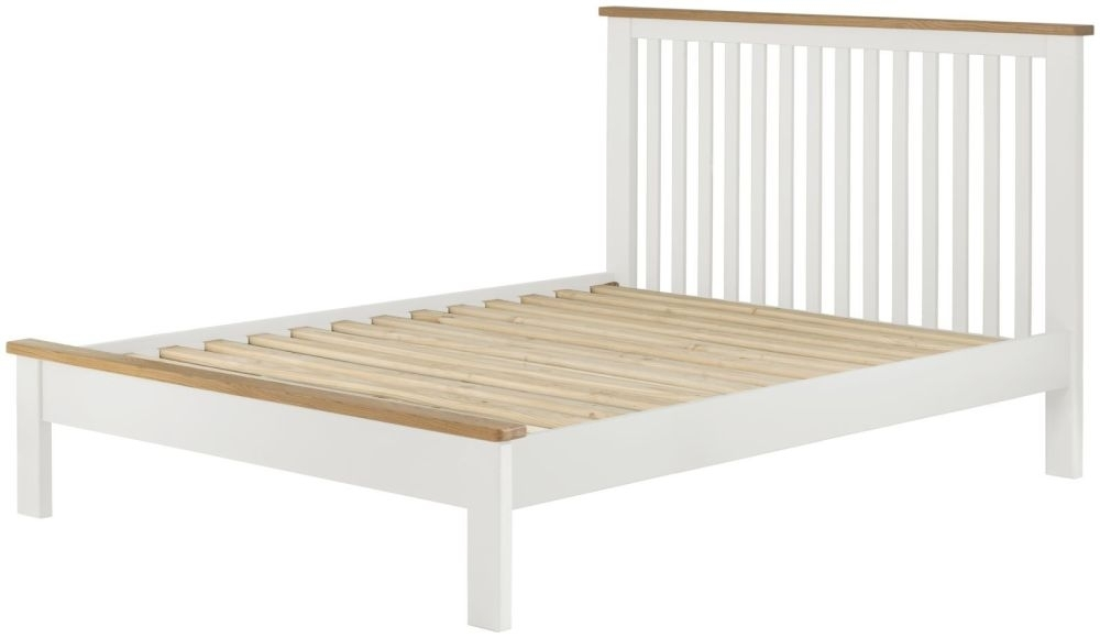 Portland Bed - Oak and White Painted