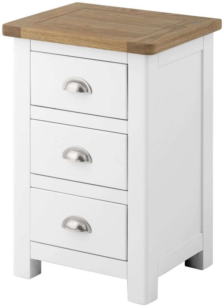 Portland Bedside Cabinet - Oak and White Painted