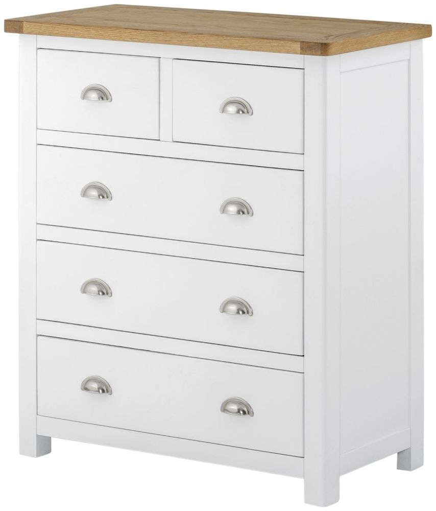 Portland 2+3 Drawer Chest - Oak and White Painted