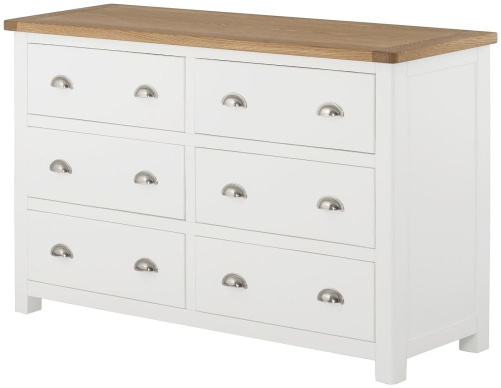 Portland 6 Drawer Chest - Oak and White Painted